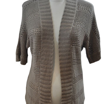 Brown Short Sleeve Open Cardigan by A Pea In The Pod