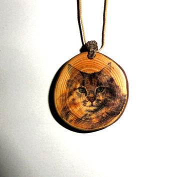 Pendant necklace cat quote. Pine tree slice pendant. Natural pendants necklaces, tree branch, recycled wood. Cat pendant jewelry necklace
