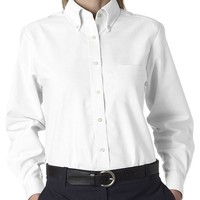 UltraClub Women's Button Down Long-Sleeve Dress Shirt, white, X-Large
