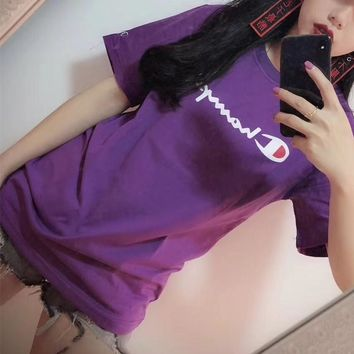 """Champion"" Women Retro Casual Fashion Letter Print Short Sleeve T-shirt Top Tee"