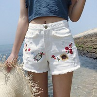 LMFONX5H High Waist Embroidered Denim Shorts