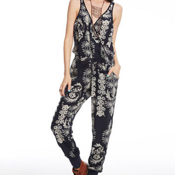 Chaser Navy Silk Floral Jumpsuit