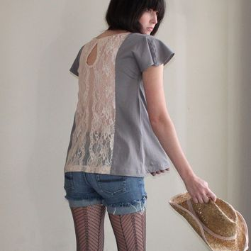 Grey Skies loose cotton tunic apricot lace back by Minxshop