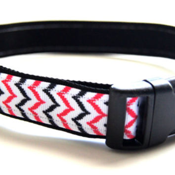 Coral and Black Chevron Dog Collar Adjustable Sizes (M, L, XL)