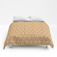 Triangle Gold and Burgundy Pattern Comforters by Sheila Wenzel