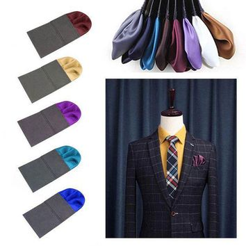 Men Charm Suit Insert Pocket Round Solid Color Handkerchief For Wedding Party