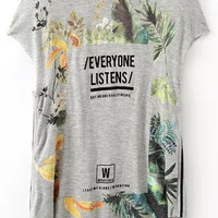 Grey Short Sleeve Tropical Printed T-Shirt