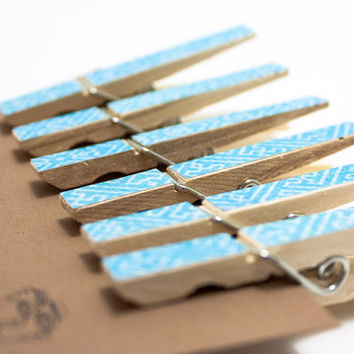 Decorative Clothes Pins - Blue Geometric Pattern - Set of 6 Wood Clothespins Clips Party Decoration Holiday Tree Ornament