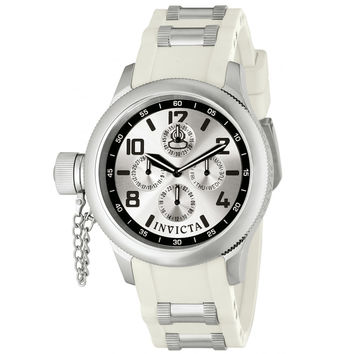 Invicta 1812 Women's Russian Diver Quinotaur Silver Dial White Rubber Strap Multifunction Lefty Watch