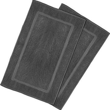 "2 Pack New 100% Cotton Luxury Bath Mats (21""x36"";Smoke Gray; weight 10lb/dz) Fram border ,Machine washable"