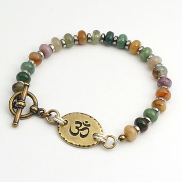 Multicolor Om bracelet, semiprecious stone fancy agate beads, warm earthtones, mixed metal brass silver, 7 1/2 inches 19cm