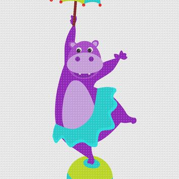 Contemporary Circus Hippo With An Umbrella Hand Embroidery Pattern