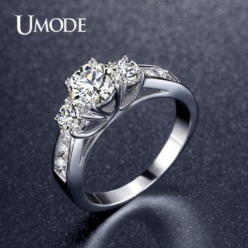 UMODE Hot Classic Three Stone Engagement Rings White Gold Plated 1ct Main simulated Diamond Wedding Rings Jewelry Anel UR0337