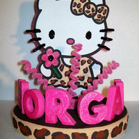 HELLO KITTY 3D leopard custom cake topper PERSONALIZED