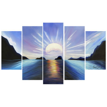 Blue View of Calming Waters Landscape Canvas Wall Art Oil Painting