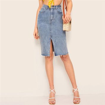 Bleach Wash Slit Hem Bodycon Denim Skirt Women Blue Solid Frayed Edge Midi Elegant Pencil Skirt
