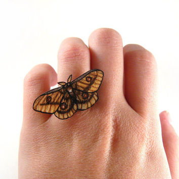Gum MOTH Ring, Shrink Plastic Jewelry, Moth, Insect, Entomology, Wearable Art, Taupe, Tan, Brown
