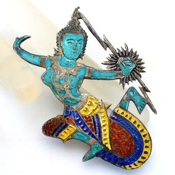 Siam Dancer Enamel Sterling Silver Brooch Pin