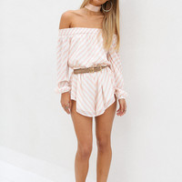 Buy Peach Stripe Playsuit Online by SABO SKIRT