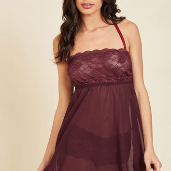 Live and Allure Nightgown and Panties Set in Maroon | Mod Retro Vintage Underwear | ModCloth.com