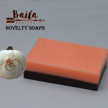 pumpkin soap, exfoliating soap, sugar scrub, natural soap, iced pumpkin soap, pumpkin pie soap, pumpkin cheesecake soap, handmade soap,spice