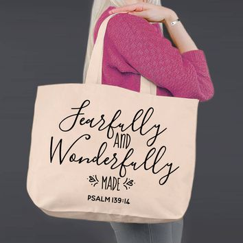 Fearfully and Wonderfully Made | Personalized Canvas Tote Bag