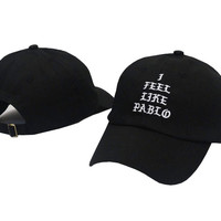 I FEEL LIKE PABLO Hat Kanye West Yeezy Yeezus THE LIFE OF PABLO Embroidered Cap Black Fitted Trucker Sun Hat