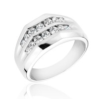 Men's Round Diamond Two Row Ring 1ctw