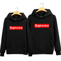 Supreme sweater men and women lovers Hooded head leisure loose Black