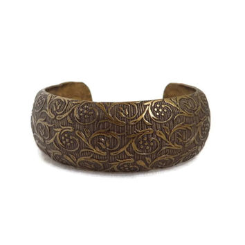 Vintage Copper Toned Cuff, Bronze Tone Scrolled Bracelet