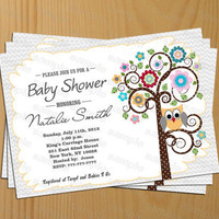 Owl Baby Shower Invitation Gender Neutral Baby Shower Invitation Owl Baby Shower Invites Printable - FREE Thank You Card (138)