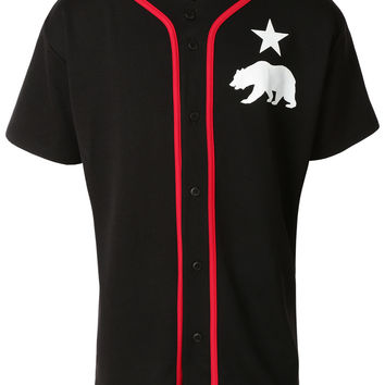 LE3NO Mens Short Sleeve Button Down Bear Logo Baseball Jersey (CLEARANCE)