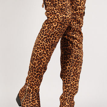 Leopard Suede Zip Up Thigh High Boot
