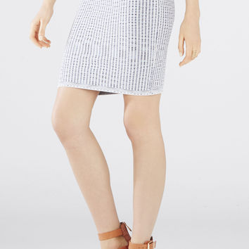 Grey BCBG Pavel Textured Woodblock Jacquard Skirt