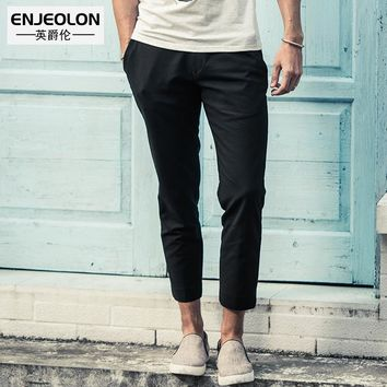 top quality ankle length trousers casual pants men 2 color solid pants clothing males fashion Slim clothes