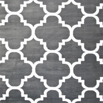 4158 Dark Gray Moroccan Lattice Area Rugs