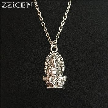 New Indian Animal Buddhist Hinduism Vintage Silver Meditation Elephant Ganesha Pendant Necklace Amulet Lucky Gift Tribal Jewelry