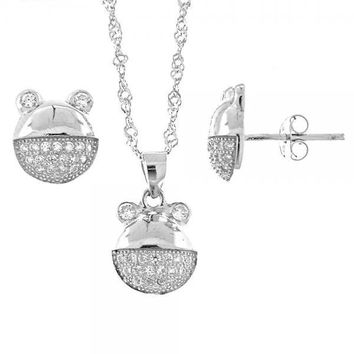 Sterling Silver 10.174.0047 Necklace and Earring, Teddy Bear Design, with White Micro Pave, Rhodium Tone