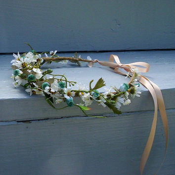 Bridal Flower Crown teal purple hair Wreath Lavender Wedding party Accessories -Madeline- Photo Prop daisy circlet boho halo Woodland