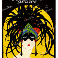 Printable Theater Magazine Cover Vintage Art Deco Flappers Full Size Color Digital Download Image Transfer