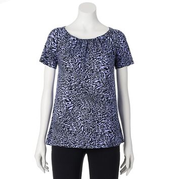 Dana Buchman Print Shirred Top