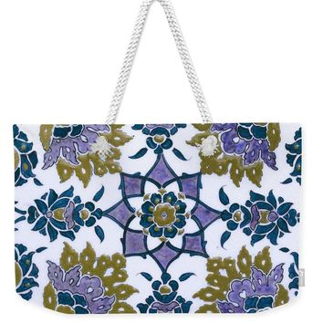 An Ottoman Iznik Style Floral Design Pottery Polychrome, By Adam Asar, No 13f - Weekender Tote Bag