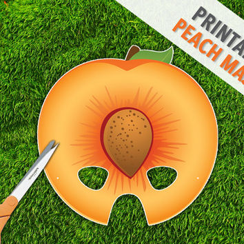 Peach Printable Party Mask | Apricot Fruit Mask | Inexpensive Play Props