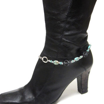 Boot Bracelet Day Of The Dead Sugar Skull Black Silver Turquoise Blue Western