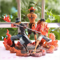 NEW hot 3pcs set 14-17cm One piece Monkey D Luffy ace Sabo collectors action figure toys Christmas toy