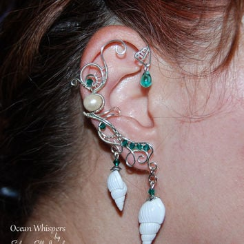 Ocean Whispers ear cuff, no piercing earrings, Elf Earrings, Fantasy Earring, wire ear cuff, Siren ear cuff, Cosplay jewelry, Naiad earrings