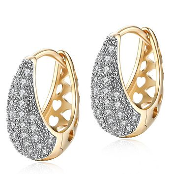 Unique In Style Trendy Earrings 26 Stone Teardrop Pave Hugging Earring 18K White Gold Plated