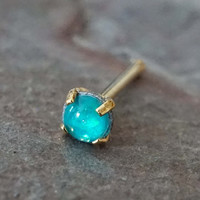 Teal Opal Gold Nose Bone Gold Nose Stud Nose Ring Prong Set