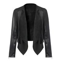 Black Lapel Front Back Tassel  Irregular Biker Jacket