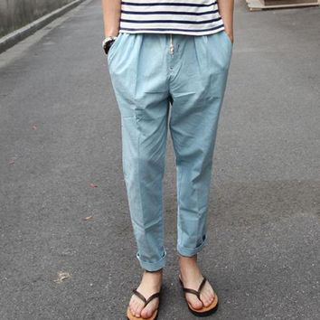 Spring summer 2017 Casual Thin cotton and linen  trousers British men's fashion leisure loose ankle length pants